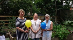 Councillor Sophie Taylor , Kelly Hunter (Chief Executive Officer of Trafford Carers Centre) and Kate Green MP.